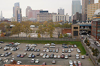 Rooftop view of the Manhattan Bridge and parking lot from DUMBO Brooklyn
