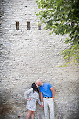engagement photos in downtown Galt