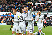 Goal -  Oli McBurnie (9) of Swansea City celebrates scoring a goal from the penalty spot to give a 1-0 lead to the home team with during the EFL Sky Bet Championship match between Swansea City and Reading at the Liberty Stadium, Swansea, Wales on 27 October 2018.
