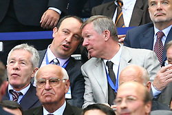 PARIS, FRANCE - WEDNESDAY, MAY 17th, 2006: Liverpool's manager Rafael Benitez and Manchester United's manager Alex Ferguson chat before the UEFA Champions League Final at the Stade de France. (Pic by David Rawcliffe/Propaganda)