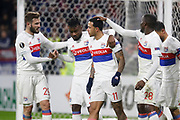 Memphis Depay of Lyon and Maxwel Cornet of Lyon and Lucas Tousart of Lyon during the UEFA Europa League, Round of 32, 1st leg football match between Olympique Lyonnais and Villarreal on February 15, 2018 at Groupama stadium at Decines-Charpieu near Lyon, France - Photo Romain Biard / Isports / ProSportsImages / DPPI