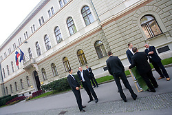 Domen Lorbek, Dusan Sesok, Iztok Rems of Slovenian basketball national team after Eurobasket 2009 before the reception at president of Slovenia dr. Danilo Türk,  on September 28, 2009, in Presernova 8, Ljubljana, Slovenia.  (Photo by Vid Ponikvar / Sportida)