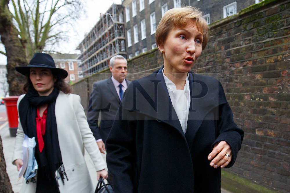 """© Licensed to London News Pictures. 21/01/2016. London, UK. Marina Litvinenko, widow of former Russian spy Alexander Litvinenko arriving at a press conference at Matrix Chambers in London. Mr Litvinenko died aged 43 in London days after being poisoned with radioactive polonium-210 and his assassination was """"probably"""" approved by President Vladimir Putin, a public inquiry has concluded. Photo credit: Tolga Akmen/LNP"""