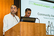 Suleman, Young advisor, The Howard league participant project speaking at the Howard League for Penal reform's Community Awards 2015 The Kings Fund, London, UK. All use must be credited © prisonimage.org