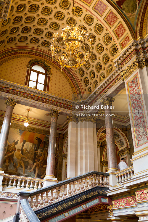 The architecture of the Grand Staircase in the Foreign and Commonwealth Office (FCO), on 17th September 2017, in Whitehall, London, England. The main Foreign Office building is in King Charles Street, and was built by George Gilbert Scott in partnership with Matthew Digby Wyatt and completed in 1868 as part of the new block of government offices which included the India Office and later (1875) the Colonial and Home Offices. George Gilbert Scott was responsible for the overall classical design of these offices but he had an amicable partnership with Wyatt, the India Office's Surveyor, who designed and built the interior of the India Office.