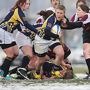 Kaitlyn Gaton, Clarion College, in action during the Clarion Vs Molloy Women's College Division game at the Four Leaf 15s Rugby Tournament which attracted over 60 clubs teams from New York and Interstate held at Randall's Island Park, New York,  USA. 21st March 2015. Photo Tim Clayton