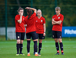 NEWPORT, WALES - Tuesday, November 6, 2018: Wales' Hayley Ladd, Natasha Harding, Nadia Lawrence and Gemma Evans during a training session at Dragon Park ahead of two games against Portugal. (Pic by Paul Greenwood/Propaganda)