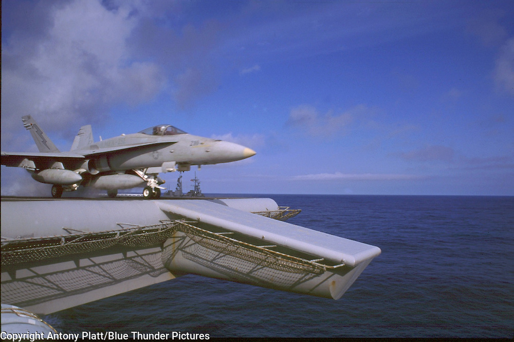 """F/A-18 Hornet frm VMFA-251 """"Thunderbolts"""" USMC launches on a Southern No Fly Zone Mission from  USS-George Washington (CVN-73)"""