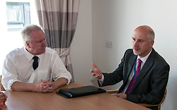 today Scottish Health Secretary Alex Neil,MSP, announced additional support for health boards. The support will be focused on improving the flow of patients through the NHS system. Mr Neil spoke to staff at NHS Lothian about their plans to invest the extra money and heard from patients about how they feel about being in hospital longer than necessary.  Peter Garitas, City of Edinburgh Council, took the opportunity to get his views accross to Mr Neil. Edinburgh, 7 August Ger Harley | SockPix.eu