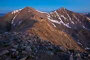Dawn on Front Range 14ers, Grays Peak and Torreys Peak.