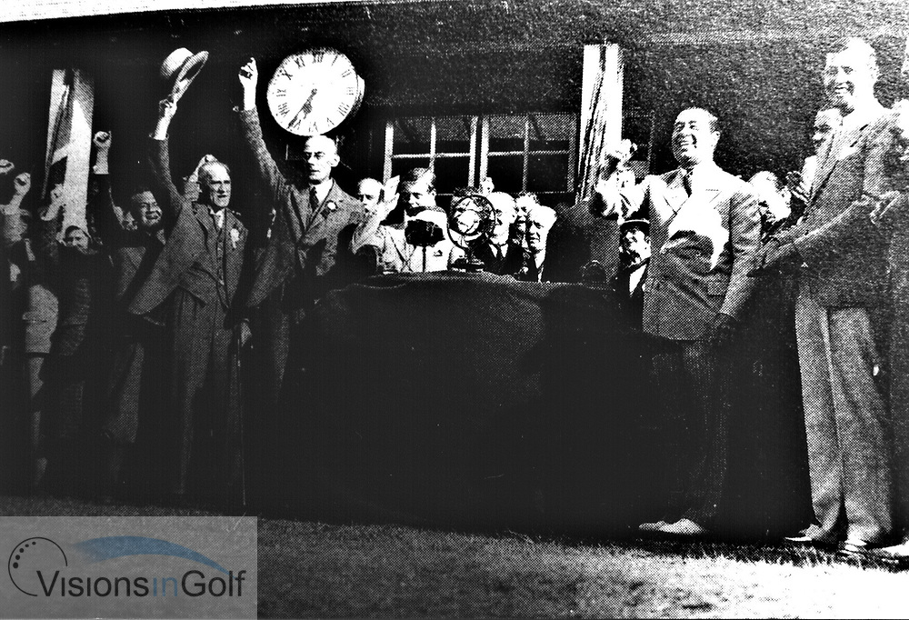 Ryder Cup Matches 1933 presentation with Walter Hagen<br /> Picture Credit: &copy;Visions In Golf / Hobbs Golf Collection
