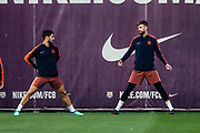 Gerard Pique from Spain of FC Barcelona with Luis Suarez from Uruguay of FC Barcelona during the training before the Spanish championship La Liga football match between FC Barcelona and Real Madrid on May 5, 2018 at Ciutat Esportiva Joan Gamper in Barcelona, Spain - Photo Xavier Bonilla / Spain ProSportsImages / DPPI / ProSportsImages / DPPI