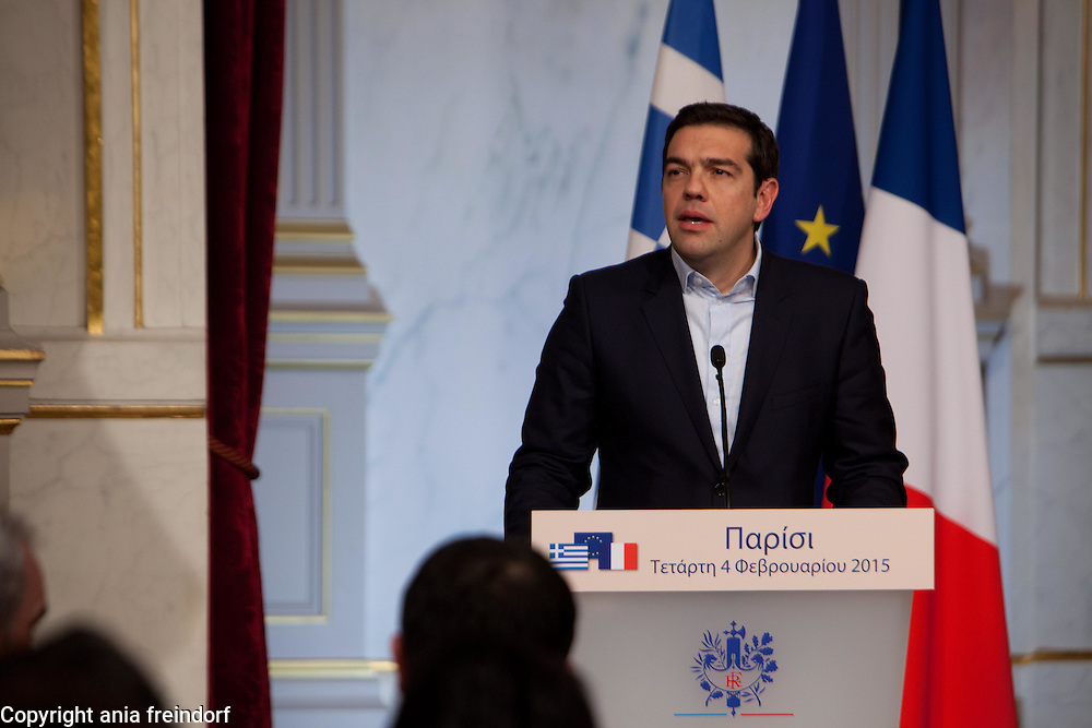 French President Francois Hollande and Prime Minister of Greece Alexis Tsipras, during the press declaration in Paris.