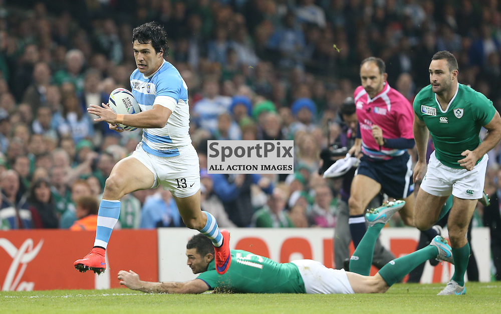 Matias Moroni heads for the try line during the Rugby World Cup Quarter Final, Ireland v Argentina, Sunday 18 October 2015, Millenium Stadium, Cardiff (Photo by Mike Poole - Photopoole)