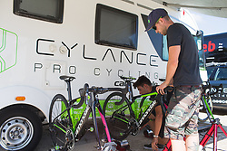 Cylance Pro Cycling mechanics prepare the bikes for Stage 1 of the Madrid Challenge - a 12.6 km team time trial, starting and finishing in Boadille del Monte on September 15, 2018, in Madrid, Spain. (Photo by Balint Hamvas/Velofocus.com)