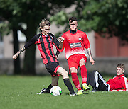 FC Kettledrum (red and black stripes) met Fintry Rovers (red and white) in the Dundee Saturday Morning Football League Adamson Cup at Fairmuir <br /> <br /> <br />  - © David Young - www.davidyoungphoto.co.uk - email: davidyoungphoto@gmail.com
