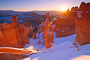 Winter sunrise on Thor's Hammer, Bryce Canyon National Park Utah USA