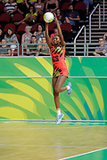 8th April 2018, Gold Coast, Gold Coast Convention and Exhibition Centre, Australia; Commonwealth Games day 4; Netball Malawi versus New Zealand;  Mwai Kumwenda catches the high pass