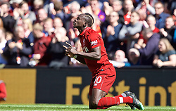 LIVERPOOL, ENGLAND - Sunday, May 12, 2019: Liverpool's 10 celebrates scoring the first goal during the final FA Premier League match of the season between Liverpool FC and Wolverhampton Wanderers FC at Anfield. (Pic by David Rawcliffe/Propaganda)