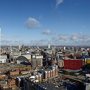 Manchester city centre panoramic cityscape skyline