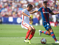 September 23, 2018 - Valencia, Valencia, Spain - Rober Pier of Levante UD and Wissam Ben Yedder of Sevilla FC during the La Liga match between Levante UD and Sevilla FC at Ciutat de Valencia Stadium on September 23, 2018 in Valencia, Spain. (Credit Image: © Maria Jose Segovia/NurPhoto/ZUMA Press)