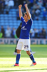 Leicester City's Anthony Knockaert celebrates Leicester City's win on the final whistle - Photo mandatory by-line: Joe Meredith/JMP  - Tel: Mobile:07966 386802 06/10/2012 - Leicester City v Bristol City - SPORT - FOOTBALL - Championship -  Leicester  - King Power Stadium