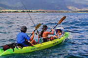 Family in Kayak, Kaneohe Bay, Oahu, Hawaii