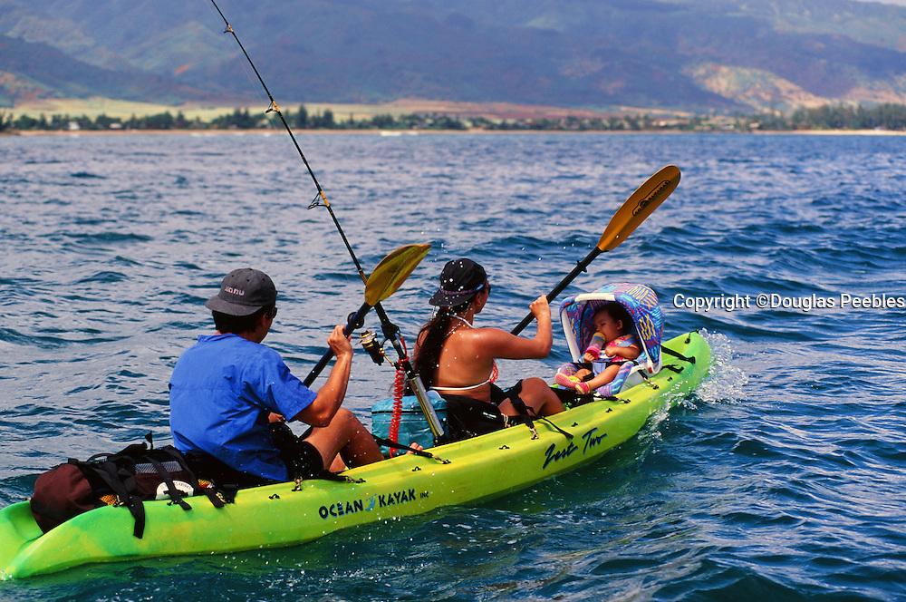 Family in Kayak, Kaneohe Bay, Oahu, Hawaii
