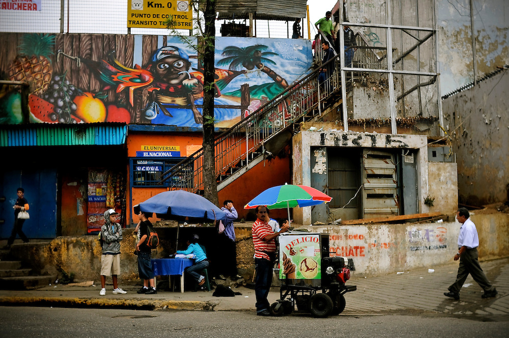 Urban street art in El Valle, a slum on the outskirts of Caracas, Venezuela. The Venezuelan government commissions collectives of graffiti artists to plaster the city in murals and stencils that promote the Bolivarian revolution and the political agenda of President Hugo Chavez.
