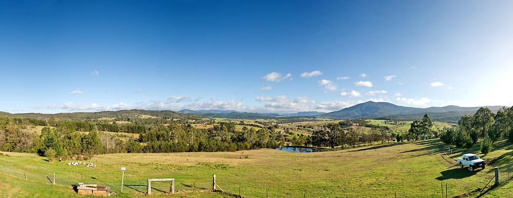 Farm in Towamba in rural New South Wales, Australia. Panorama.