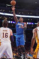 02 December 2012: Forward (11) Glen Davis of the Orlando Magic shoots the ball against the Los Angeles Lakers during the first half of the Magic's 113-103 victory over the Lakers at the STAPLES Center in Los Angeles, CA.