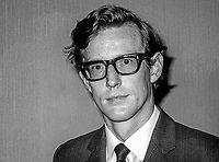 David Trimble, candidate. Vanguard Unionist Progressive Party, North Down, N Ireland Assembly Election, June 1973. 197306000643BW<br /> <br /> Copyright Image from Victor Patterson,<br /> 54 Dorchester Park, <br /> Belfast, UK, BT9 <br /> <br /> t1: +44 28 9066 1296 (from Rep of Ireland 048 90661296)<br /> t2: +44 28 9002 2446 (from Rep of Ireland 048 9002 2446)<br /> <br /> m: +44 7802 353836<br /> <br /> e: victorpatterson@me.com<br /> www.victorpatterson.com<br /> <br /> Please see my Terms and Conditions of Use at www.victorpatterson.com. It is IMPORTANT that you familiarise yourself with them.<br /> <br /> Images used on the Internet must be visibly watermarked i.e. © Victor Patterson<br /> within the body of the image and copyright metadata must not be deleted. Images <br /> used on the Internet have a size restriction of 4kbs and will be chargeable at current<br />  NUJ rates unless agreed otherwise.<br /> <br /> This image is only available for the use of the download recipient i.e. television station, newspaper, magazine, book publisher, etc, and must not be passed on to any third <br /> party. It is also downloaded on condition that each and every usage is notified within 7 days to victorpatterson@me.com<br /> <br /> The right of Victor Patterson to be identified as the author is asserted in accordance with The Copyright Designs And Patents Act (1988). All moral rights are asserted.