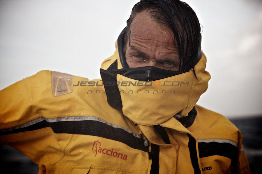 Javier Sansó helming Imoca 60 ACCIONA.Maiden trip, from BREST-FRANCE to PALMA DE MALLORCA-SPAIN