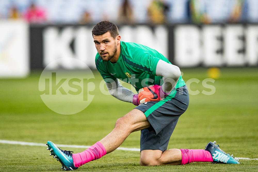 Matt Ryan of Australia warming up during the 2018 FIFA World Cup CONCACAF/AFC Intercontinental Play-Off match between Australia and Honduras at Stadium Australia, Sydney, Australia on 15 November 2017. Photo by Peter Dovgan.