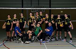 29-10-2014 NED: Selectie Prima Donna Kaas Huizen mannen, Huizen<br /> Selectie seizoen 2014-2015 / Frits Bleeker (manager), Jonathan Rebel (10), Sven de Koe (2), Niels de Vries (5), <br /> Nick Rijnsent (9) Peter van den Berg (trainer/coach), Sander Gommers (7), Michiel Koster (4), Mats Bleeker (14), Jesse Zegeling (11), Herman Rempe (3), Hugo van Garderen (12)