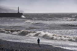 © Licensed to London  News Pictures 12/03/2019. Aberystwyth, UK. Gale force winds from Storm Gareth, the third named storm of 2019, start to pick up speed as they hit Aberystwyth on the Cardigan Bay coast, West Wales on Tuesday afternoon. Gusts in excess of 80mph are forecast in exposed Northern regions, with the risk of serious damage to property and severe disruption to travel and power services. Photo credit: Keith Morris/LNP