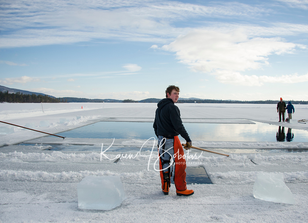 Annual Ice harvest at Rockywold Deephaven Camp on Squam Lake.  Karen Bobotas for the Laconia Daily Sun