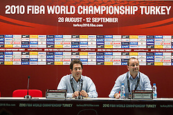 Paul Charles of FIBA and Patrick Baumann, general secretary of FIBA at press conference prior to the Preliminary Round - Group B basketball match between National teams of USA and Slovenia at 2010 FIBA World Championships on August 29, 2010 at Abdi Ipekci Arena in Istanbul, Turkey.  (Photo by Vid Ponikvar / Sportida)