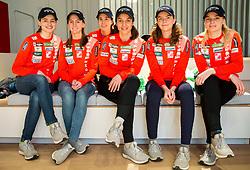 Ski Jumping Women Team: Nika Kriznar, Katra Komar,  Ursa Bogataj, Maja Vtic, Jerneja Brecl and Spela Rogelj during press conference of Slovenian Nordic Ski teams, on January 8, 2018 in Triglav Lab, Ljubljana, Slovenia. Photo by Vid Ponikvar / Sportid