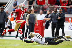 SANTA CLARA, CA - NOVEMBER 06: Wide receiver Quinton Patton #11 of the San Francisco 49ers breaks a tackle from free safety Jairus Byrd #31 of the New Orleans Saints during the first quarter at Levi's Stadium on November 6, 2016 in Santa Clara, California.  (Photo by Jason O. Watson/Getty Images) *** Local Caption *** Quinton Patton; Jairus Byrd