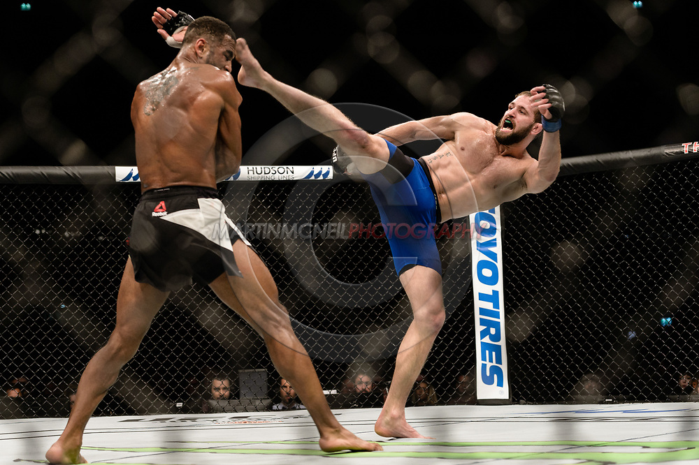 "GLASGOW, UNITED KINGDOM, JULY 16, 2017: Danny Roberts (black/white shorts) versus Bobby Nash (blue/black trunks) during ""UFC Fight Night Glasgow: Nelson vs. Ponzinibbio"" inside the SSE Hydro Arena in Glasgow, Scotland on Sunday, July 16, 2017."