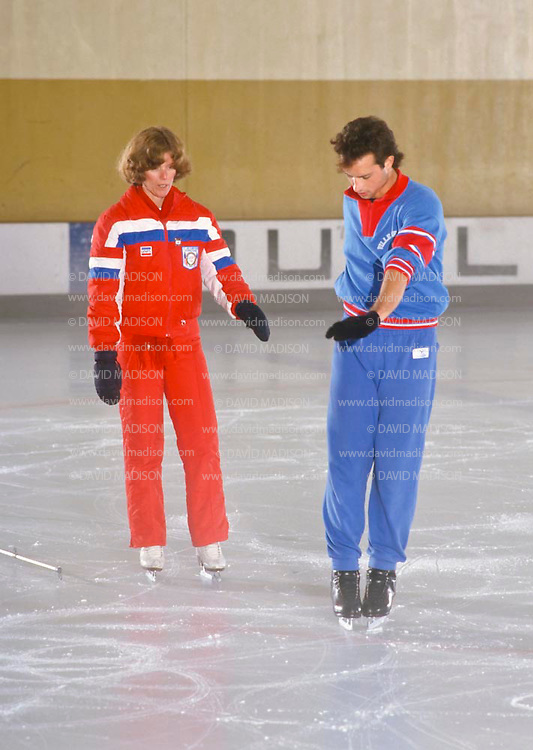 DUBLIN, CA -  SEPTEMBER 1987:  Brian Boitano of the USA training with his coach Linda Leaver at the Dublin Iceland arena in Dublin, California in September 1987.  Boitano later became the Olympic Champion in Men's Figure Skating at the 1988 Winter Olympics.  (Photo by David Madison/Getty Images) *** Local Caption *** Linda Leaver;Brian Boitano