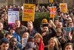 © Licensed to London News Pictures. 22/02/2018. Bristol, UK. University and College Union (UCU) nation wide strike. UCU lecturers begin a two day strike at the University of Bristol, holding a rally outside the Wills Memorial Building with support from some students and then marching down Park Street to College Green. Lecturers and other university staff will hold an escalating wave of strikes over a four-week period at 61 universities across the country over a change in their pensions. The dispute centres on proposals to end the defined benefit element of the Universities Superannuation Scheme (USS) pension scheme. UCU says this would leave a typical lecturer almost £10,000 a year worse off in retirement than under the current set-up. Photo credit: Simon Chapman/LNP