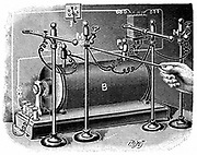 High voltage equipment used by Pierre and Marie Curie to investigate the electrical conductivity of air exposed to radium. Engraving published Paris 1904