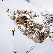 Forrest Jillson drops into Corbet's Couloir in-bounds at Jackson Hole Mountain Resort.
