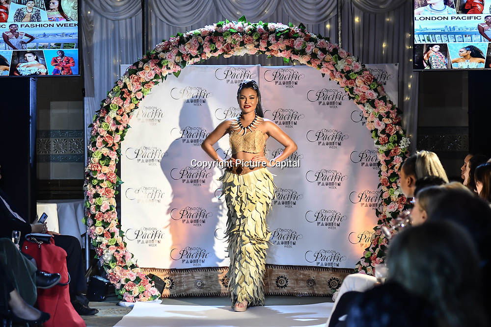 Designer Fierce Fashion By RL (American Samoa)showcases its latest collection with Her Excellency HE Hon. Titilupe Fanetupouvava'u Tu'ivakano of Tonga High Commissioner UK attend the London Pacific Fashion Week at one Whitehall, London, UK. 25 Feb 2019.