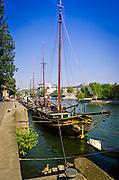 Boats along the Seine River, Paris, France