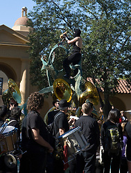 November 16, 2009; Stanford, CA, USA;  Members of the Stanford Cardinal pep band execute an effigy of the California Golden Bears.  Stanford students participate in the Big Game week festivities at Stanford University.  Stanford plays the California Golden Bears for the Stanford Axe in the Big Game football rivalry game on Saturday.