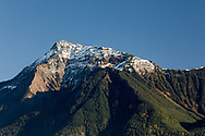 Fresh snow on Mount Cheam during a cloudless, fall day in Agassiz, British Columbia, Canada