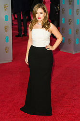 © Licensed to London News Pictures. 14/02/2016. London, UK. TANYA BURR arrives on the red carpet at the EE British Academy Film Awards 2016 Photo credit: Ray Tang/LNP